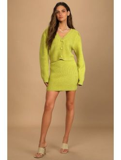 Admire the Foliage Lime Green Knit Two-Piece Sweater Dress