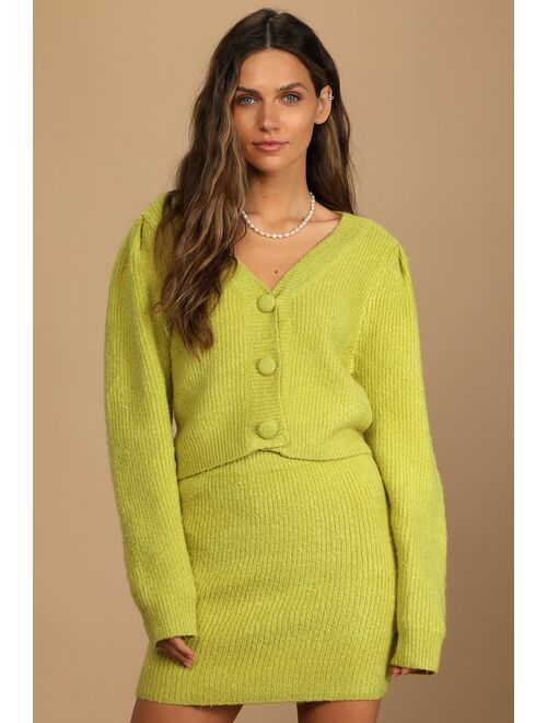 Lulus Admire the Foliage Lime Green Knit Two-Piece Sweater Dress
