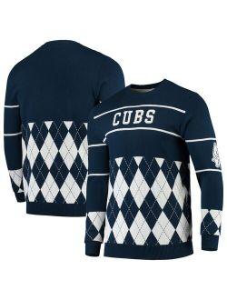 Men's Navy Chicago Cubs Retro Stripe Pullover Sweater