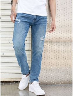 Men Stone Washed Ripped Straight Leg Jeans