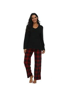U2SKIIN Couple Pajama Sets, Plaid Pajama Set for Men and Women Soft Warm Pjs Set