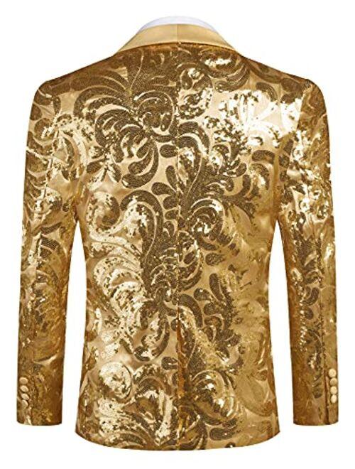 COOFANDY Men's Shiny Sequins Blazer Floral Suit Jacket Stylish  Party,Wedding,Banquet,Prom Tuxedo Suit