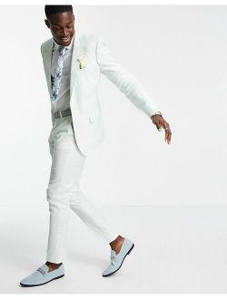wedding skinny suit pants in pastel green cotton linen