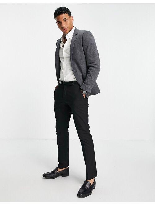 Asos Design super skinny jersey blazer in charcoal