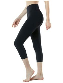 TSLA 1 or 2 Pack Women's Capri Yoga Pants, Workout Running Tights, 4-Way Stretch Leggings with Hidden/Side Pocket
