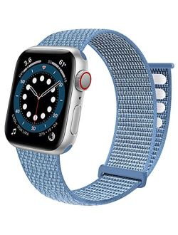 Sport Loop Band Compatible with Apple Watch Band 38mm 40mm 41mm 42mm 44mm 45mm iWatch Series 7 6 5 SE 4 3 2 1 Strap, Nylon Velcro Women Men Stretchy Elastic Braided Repla