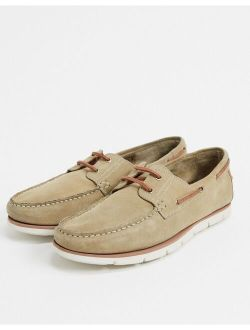 boat shoes in stone suede with white sole