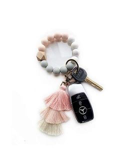 Silicone Key Ring Bracelet, KeyChains for Women,Car Keychain Beaded Wristlet Tassel for Women and Girls.