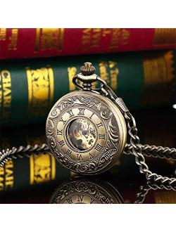 ManChDa Pocket Watch - Engraved Bronze Retro Vintage Double Hunter Series Skeleton Dial Delicate Mechanical Movement + Gift Box (1.Bronze)