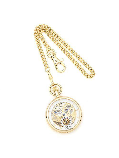 "Sonia Jewels Charles Hubert IP-Plated Full Skeleton Dial Pocket Watch 14.5"""