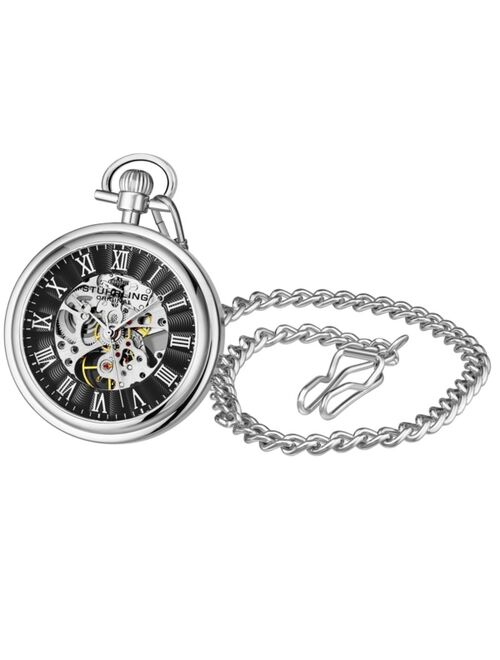 Stuhrling Men's Silver Tone Stainless Steel Chain Pocket Watch 48mm