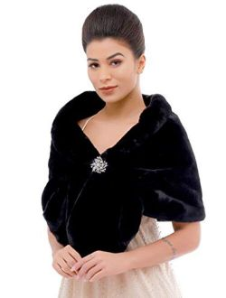 Aukmla Women's Wedding Faux Fur Wraps and Shawls Bridal Fur Stoles Scarf with Rhinestones Brooch for Bride and Bridesmaids