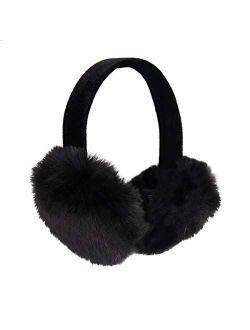 surell Faux Rex Earmuff with Black Velvet Comfort Band - Fake Fur Winter Accessory - Warm Fashion Ear Muff - Stylish Ear Warmers - Soft Fuzzy Headwarmer - Fluffy Headwear