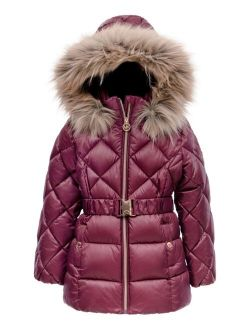 Toddler Girls Heavy Weight Belted Puffer Jacket with Diamond Quilting