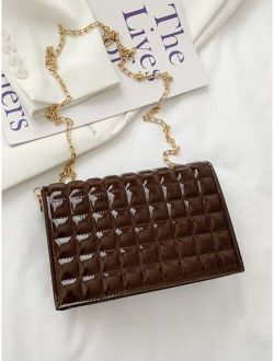 Patent Quilted Flap Chain Bag
