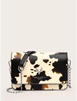 Cow Pattern Flap Crossbody Bag