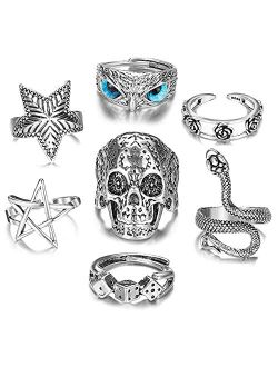Vintage Silver Open Punk Rings for Men Women, Adjustable Rings, Alt Rings, Chunky Silver Rings, Bulky Rings, Hippie Rings ,Cool Gothic Ring,Statement Stacking Ring, Skull