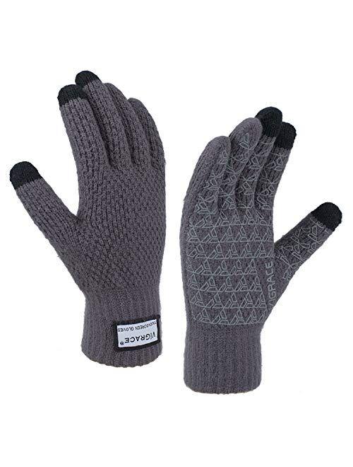 Winter Warm Touchscreen Gloves for Men and Women Touch Screen Fleece Lined Knit Anti-Slip Wool Glove