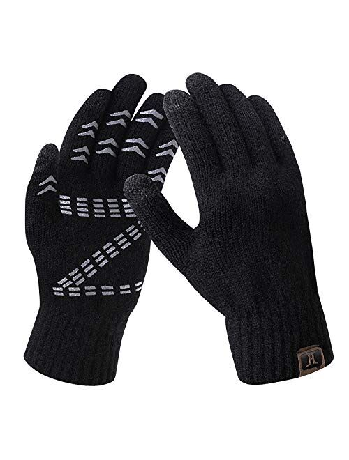 Men's Winter Gloves Warm Thermal Soft Wool Knit Touch Screen Gloves for Men