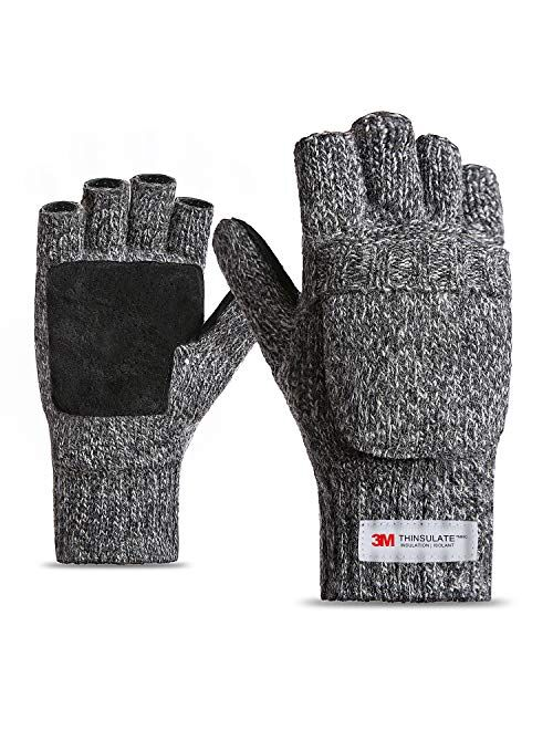 FWPP Thinsulate Thermal Inner -5℉ Winter Fingerless Mittens Gloves Men Women Wool Acrylic Knit Leather Palm
