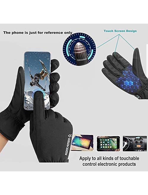 Jeniulet -30℉Winter Gloves 100% Waterproof Touch Screen Gloves for Men
