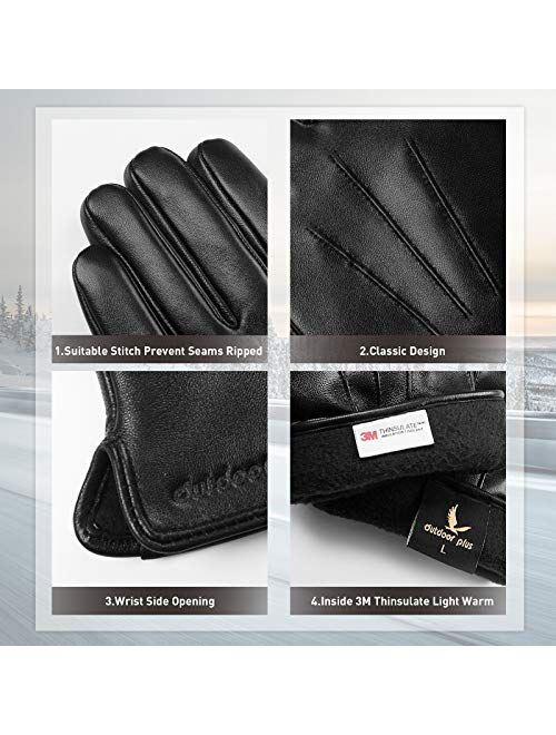 Leather Gloves for Men,Touchscreen Driving Leather Gloves,Winter Thinsulate Lined Genuine Sheepskin Gloves Gift