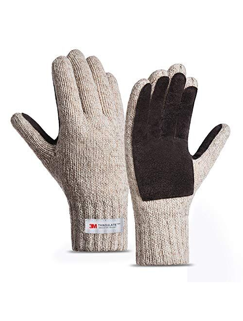 FWPP Thinsulate Thermal Inner -5℉ Winter Gloves for Men Women Fleece Wool Acrylic Knit Leather Palm M L