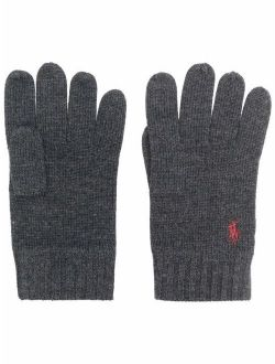 Polo Pony-embroidered wool gloves