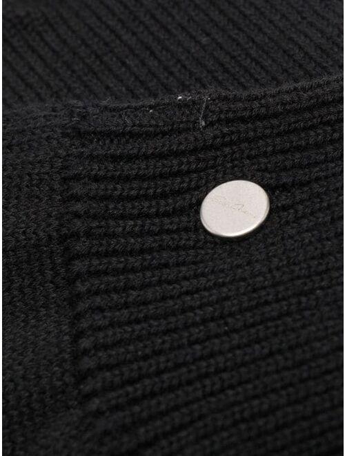 ribbed-knit gloves
