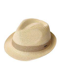 Fancet Packable Straw Fedora Panama Sun Summer Beach Hat Cuban Trilby Men Women 55-64cm