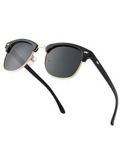 Retro Semi-Rimless Polarized Sunglasses for Men Women Driving Sun glasses 100% UV Blocking