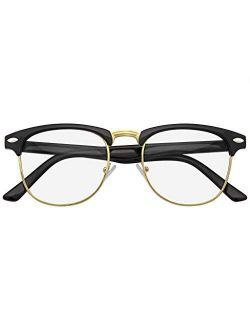 Emblem Eyewear - Premium Half Frame Horn Rimmed Sunglasses Metal Rivets