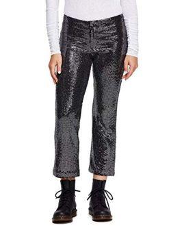 Womens Sequined Metallic Straight Leg Pants