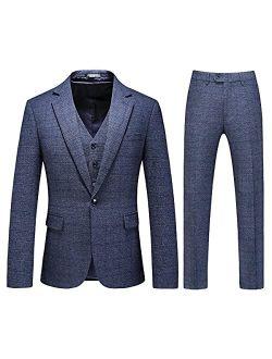 Mens 3 Piece Tweed Suit Plaid Slim Fit Suits for Men One Button Suit Tuxedo Set (Blazer+Vest+Pants)