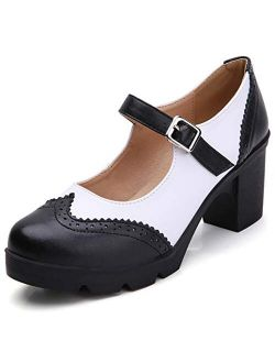 Women's Leather Classic Platform Mid Heel Mary Jane Square Toe Oxfords Dress Shoes