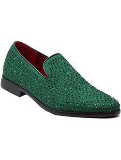SPK26 Men's Vintage Velvet Rhinestone Designer Dress Loafers Slip On Shoes Classic Tuxedo Dress Shoes