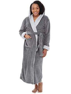 Women's Warm Fleece Robe With Hood, Long Plush Sherpa Bathrobe