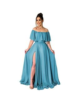 TRHTX Chiffon Women's Bridesmaid Dresses Long Off Shoulder Formal Dresses with Slit Ruffle A-Line Party Gowns