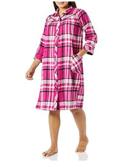 AmeriMark Flannel Snap Front Duster House Coat Plaid Lounger with Patch Pockets