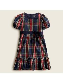 Girls' puff-sleeve dress in Stewart tartan