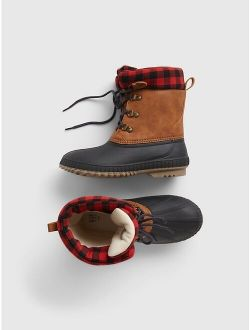 Kids Lined Lace-Up Duck Boots