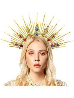 Gold Halo Crown Headpiece Mary Goddess Crown Women Zip Tie Spike Sun Headband Headdress for Halloween Maternity Photoshoot